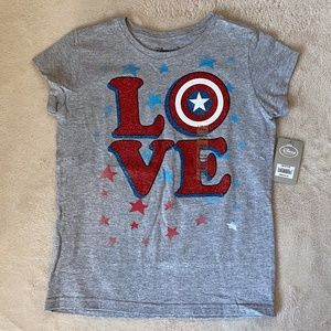 NEW Disney Store Marvel LOVE T-Shirt Girls L 10-12